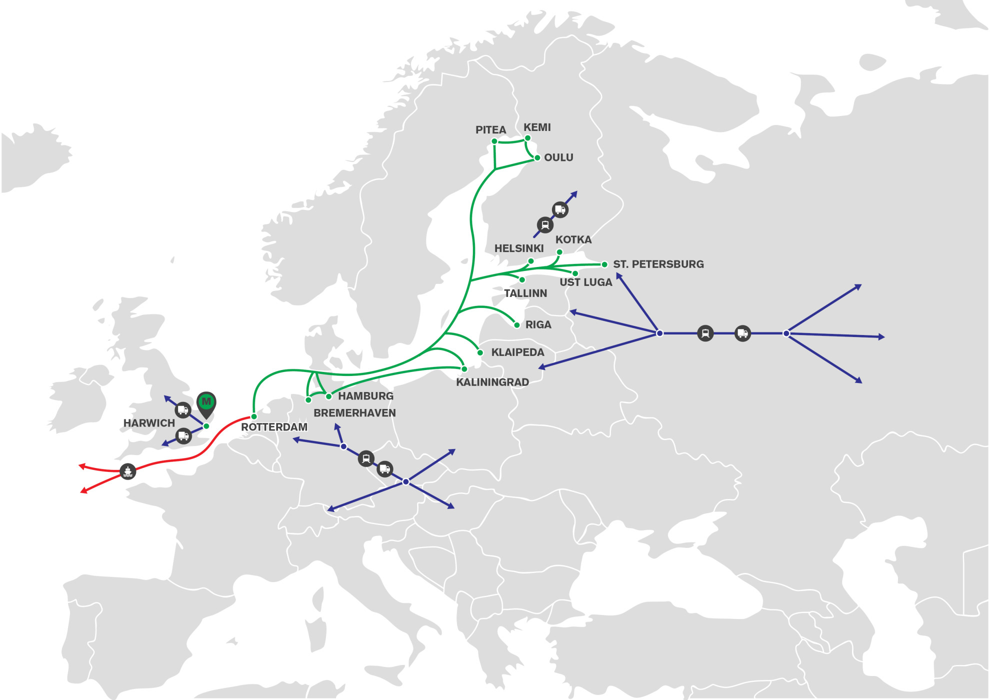 mann lines multimodal limited provides a container feeder service between rotterdam bremerhaven hamburg kaliningrad riga tallinn ust luga